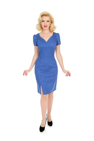 Hearts & Roses 50s Amelia Blue Polka Dot Wiggle Dress