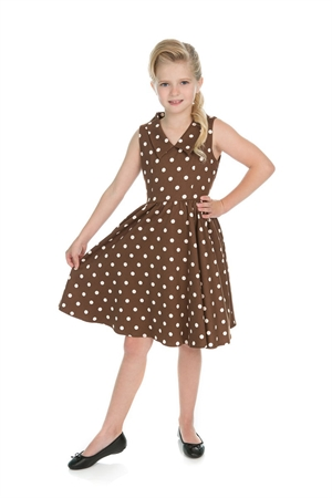 H & R Girl's Retro Brown Polka Dot Swing Dress