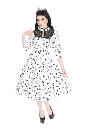 Hearts & Roses 50 Swallow Bird Tattoo Print Swing Dress