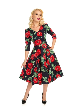 Hearts & Roses 50's Navy Red Retro Roses Rockabilly Swing Dress