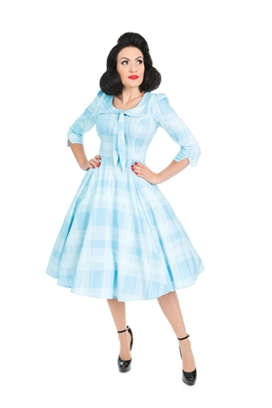 Hearts & Roses 50'S Sweet Blue Checked Swing Dress