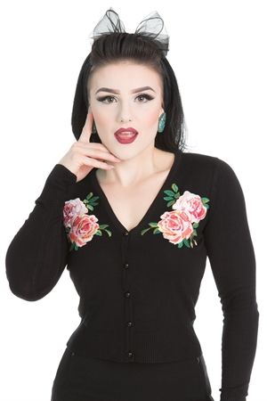 Hearts & Roses 50'S Embroidery Floral Cropped Cardigan