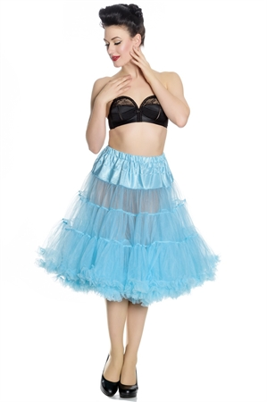 """Hell Bunny Long Petticoat (25-27"""") In Turquoise"""