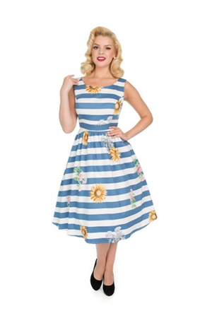 H & R 50s Blue Striped Skyscraper Sunflower Dress