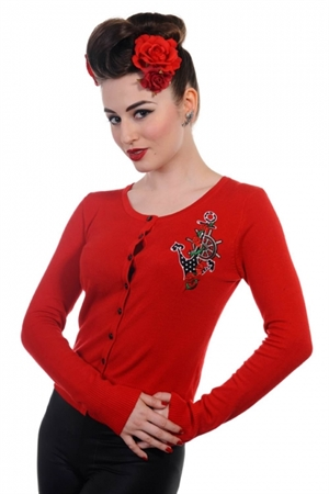 Banned Retro Red Anchor Cardigan
