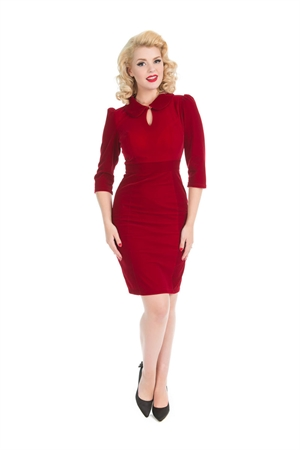 Hearts & Roses Red Glamorous Velvet Wiggle Dress