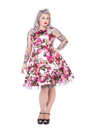 Hearts & Roses Cream Floral Audrey 50s Swing Dress