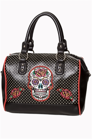 Dancing Days By Banned Dia De Muertos Black Bowler Bag
