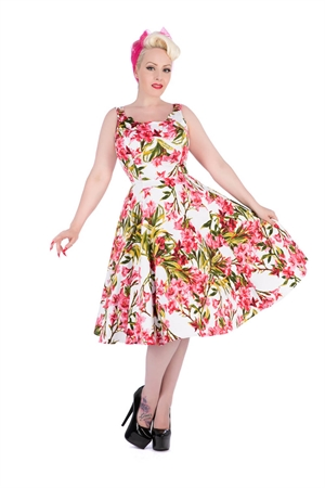 Hearts & Roses White Pink Sleeveless Floral Rockabilly Dress