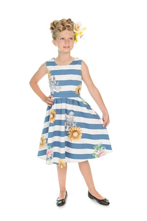 Hearts & Roses Girl's Blue Striped Sunflower Dress