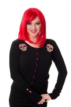 Banned Retro Skyler Red Sugar Skull Cardigan