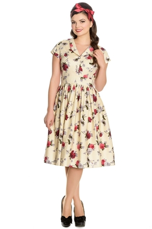Hell Bunny Rosemary Cream Roses Swing Dress