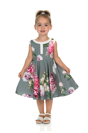 Hearts & Roses London Girl's Mix Floral Hepburn Dress In Grey