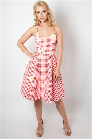 Voodoo Vixen Red White Dolly Gingham Flared Dress