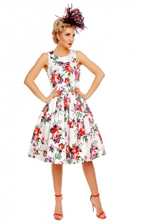 Dolly & Dotty Annie Retro White Floral Swing Dress