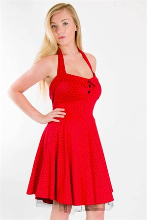 50s Rockabilly Red Polka Dot Mini Dress
