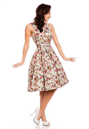 Dolly & Dotty Annie Retro Teal Pink Floral Swing Dress