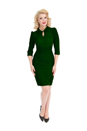 Hearts & Roses Dark Green Glamorous Velvet Wiggle Dress