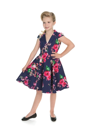 H & R Girl's Retro Navy Blue Pink Floral Swing Dress