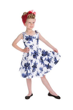 Hearts & Roses Girl's White Blue Floral Party Dress