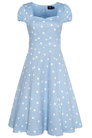 Dolly & Dotty Claudia Flirty 50's Style Polka Dot Dress In Pale Blue & White