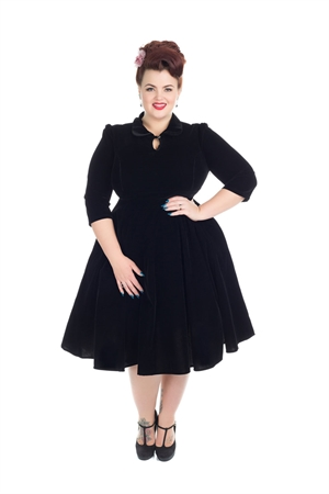 Hearts & Roses 50s Glamorous Black Velvet Tea Dress