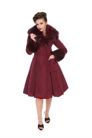 Hearts & Roses Wine Vintage Fiona Rockabily Swing Coat