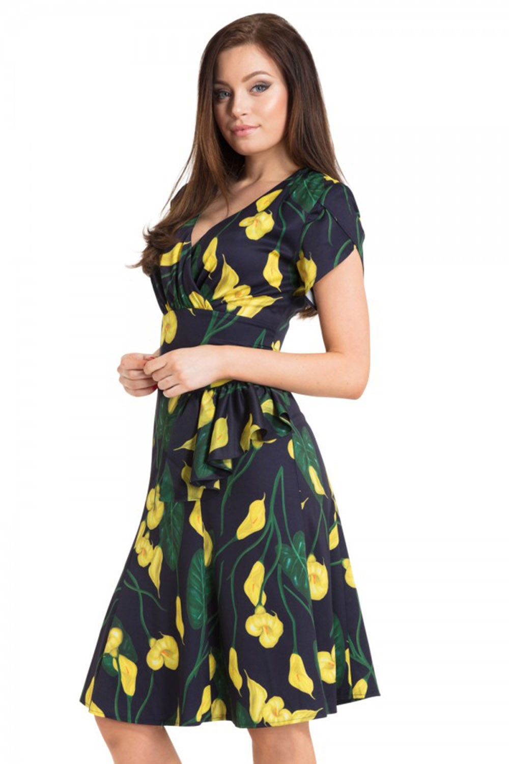 ca0a4a3d381 Voodoo Vixen Floral Calla Lily Summer Style Dress - Bettie Vintage