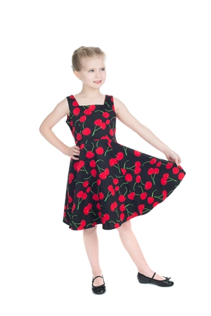 Hearts & Roses Girl's Black Red Cherry Party Dress