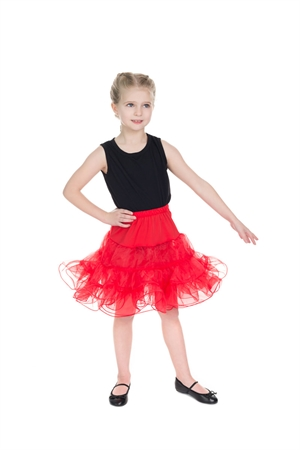 Hearts & Roses Girl's Petticoat In Red