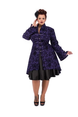 Hearts & Roses London Purple Flock Vintage Tattoo Coat