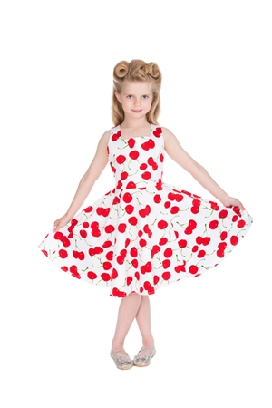 Hearts & Roses Girl's White Red Cherry Party Dress