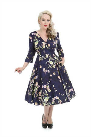 Hearts & Roses 50s Blue The Nightingale Bird Dress