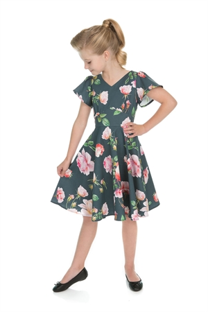 Hearts And Roses Girl's Retro Grey Armour Pink Floral Swing Dress