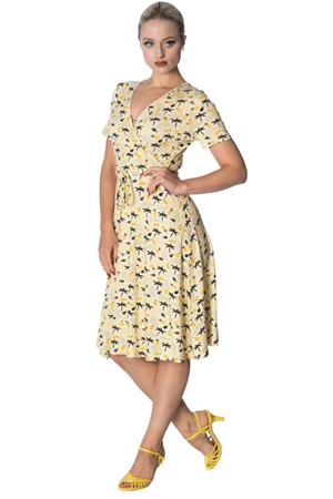 Banned Retro 60S Cream Palm Wrap Dress