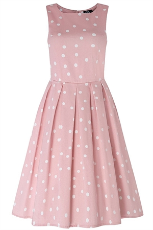 Dolly & Dotty Annie Retro Polka Dot Dress In Pale Pink & White