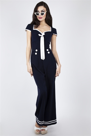 Voodoo Vixen 50's Jolene Vintage Navy Nautical Sailor Jumpsuit