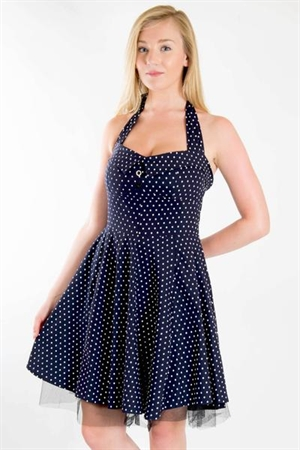 50s Rockabilly Navy Blue Polka Dot Mini Dress