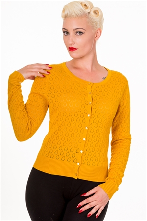 Banned Retro 50s Watch Out Cardigan in Mustard