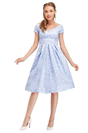 Dolly & Dotty Lily Off Shoulder 50's Polka Dot Evening Dress in Baby Blue/White