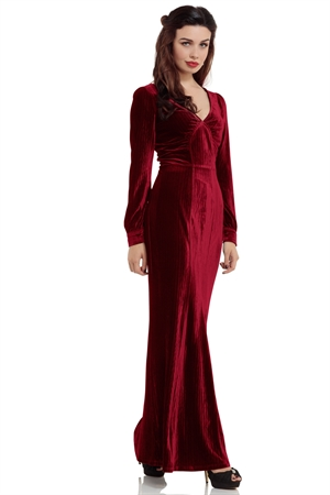 Voodoo Vixen Olive 30s Red Evening Gown