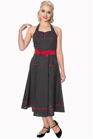Banned Retro 50's Black White Polka Dot Star Crossed Rockabilly Dress