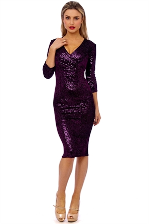 50'S Mori Sequin Hollywood Velvet Pencil Dress