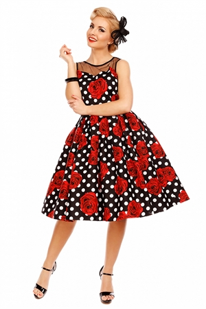 Dolly and Dolly Elizabeth Vintage Swing Dress in Black/ Rose Polka Dots