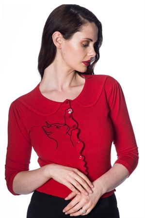 Banned Retro 60s Cat Scallop Collar Cardigan in Red