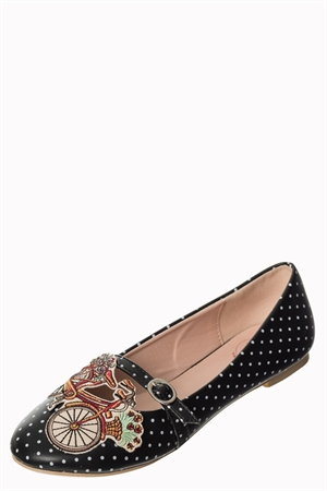 Banned Retro 50s Ballerina Flats Pearl Bicycle For Two in Black