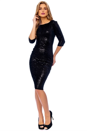 Black Sequin Velvet Wiggle Dress