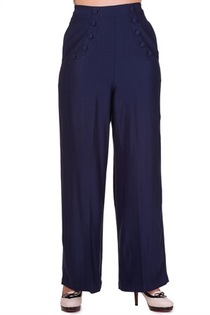 Banned 40s Navy High Waist Full Moon Wide-Leg Trousers