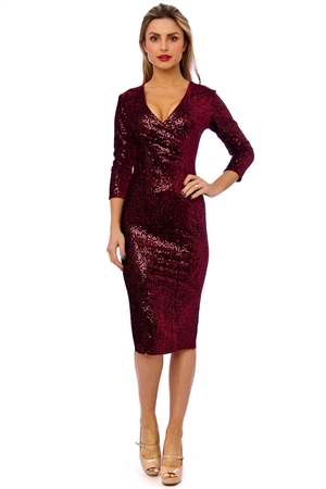 50'S Mori Sequin Pencil Wine Dress