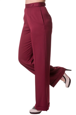 Banned 40s Wide-Leg Party On Classy Trouser In Bordeaux